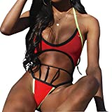 Women Sexy Halter One Piece High Cut Out Bandage Monokini Swimsuit (S, Red)