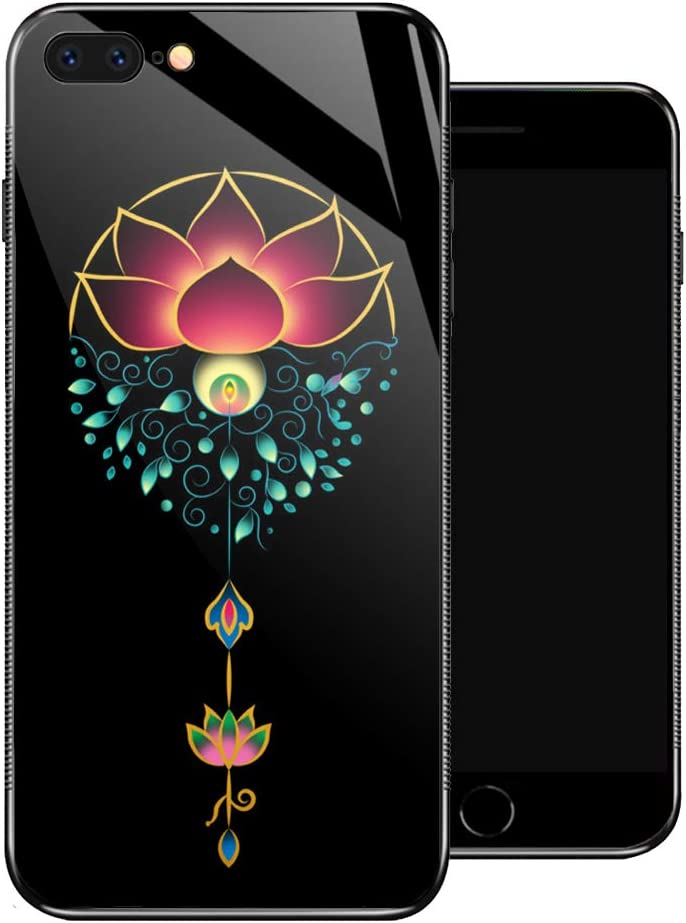 iPhone 8 Plus Case,Aestheticism Lotus iPhone 7 Plus Cases for Girls,Non-Slip Pattern Design Back Cover [Shock Absorption] Soft TPU Bumper Frame Support Case for iPhone 7/8 Plus 5.5-inch Noble Flower