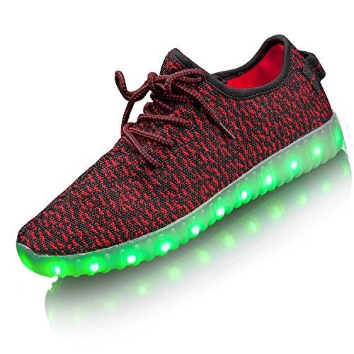 LEADFAS LED Schuhe, 7 Farben leuchten Sneaker Unisex Männer Frauen Sport Outdoor sportlich USB Lade Trainer für Thanksgiving Day Party Weihnachten Halloween Geschenk Jungen Gilrs LED Sneaker rot