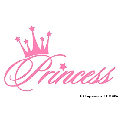 UR Impressions Pnk Princess Crown Decal Vinyl Sticker Graphics for Cars Trucks SUV Vans Walls Windows Laptop|Pink|5.6 X 3.6 Inch|URI281: Automotive