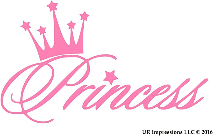 UR Impressions Pnk Princess Crown Decal Vinyl Sticker Graphics for Cars Trucks SUV Vans Walls Windows Laptop|Pink|5.6 X 3.6 Inch|URI281