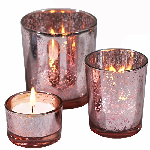 Romantic Mercury Glass Candle Holders Set of 3 Votive Tealight Candlestick For Home And Wedding Decoration (Pink)