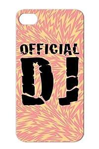 Black Official Dj For Iphone 4/4s Disc Jokey Jockey Symbols Shapes Turntables Music Disco Turntable Clubbing Club DJ Protective Hard Case
