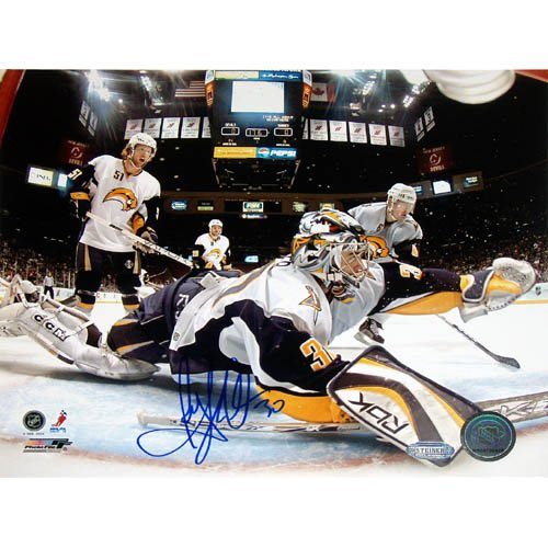 NHL Ryan Miller Goal Cam Glove Save Vs Devils Autographed 8-by-10-Inch Photograph ()