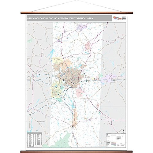 MarketMAPS Greensboro-High Point, NC Metro Area Wall Map - 2018 - ZIP Codes - Laminated with Wooden Rails - 64 x 48 inches