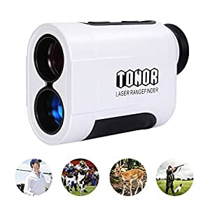 TONOR Golf Laser Rangefinder/Range Finder with Pinsensor/Binoculars, Water Resistant/Free Battery for Hunting Outdoor Activities 650 Yard, White