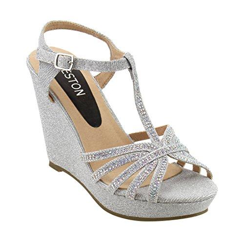Beston ID68 Women's Glitter T-strap Cage Platform Wedge Sandal Half Size Smaller, Color:SILVER,