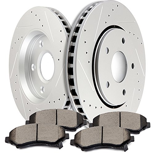 SCITOO Brake Kit Front Discs Brake Rotors and Ceramic Brake Pads fit 2008-2016 Chrysler Town Country,2008-2016 Dodge Grand Caravan,2009-2013 Dodge Journey,2012-2015 Ram C/V,2009-2012 VW Routan