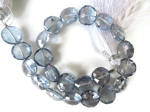 Natural Quartz Crystal Faceted Coin Beads, Iolite Color Coated Crystal Beads, 10mm To 13mm Beads, GDS930 (9