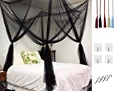 Bigger Bed Than a King Size MOSQUITO NET for Double Bed by Comtelek, Four Corner Post Elegant Mosquito Net Bed Canopy Set, Stick hook &profession rope for net, Screen Netting Canopy Curtains, Full/Queen/King
