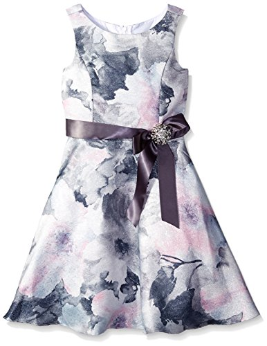 Rare Editions Big Girls' Floral Print Brocade Dress, Silver/Blue, 8 (Silver Brocade Dress)