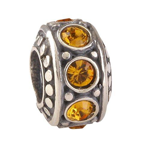 Sterling Silver Charm November Birthstone charm Bead Topaz Swarovski Crystal fits All Charm Bracelet Women Girls Mother's Gifts ()