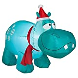 Holiday Time 4 Hippo with Snowflakes Lighted Airblown Inflatable
