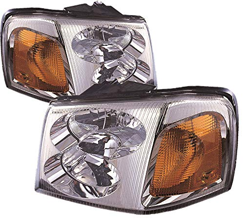 15866070 Headlamp - For 2002 2003 2004 2005 2006 2007 2008 2009 Gmc Envoy | Xl | Xuv Headlight Headlamp Assembly Driver Left and Passenger Right Side Pair Set Replacement GM2502220 GM2503220