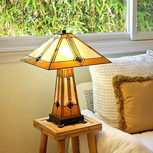 - Golden Mission Table Lamp with Lit Base