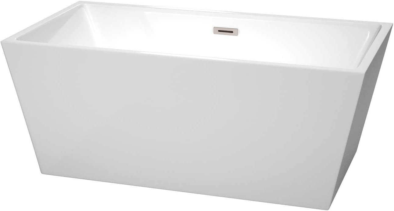 Wyndham Collection Sara 59 inch Freestanding Bathtub in White with Brushed Nickel Drain and Overflow Trim