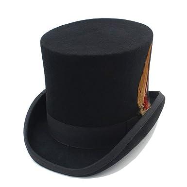 HaiDean Gorros Sombrero De Copa Hombres Mujeres Steampunk Hombres Sombrerero Modernas Casual Loco Vintage con Sombrero De Plumas Sombrero De Panamá Gorras: ...
