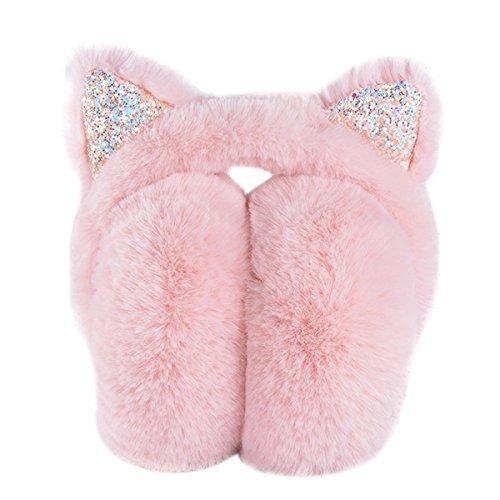 (MIUNIKO Girls Holiday Christmas Winter Cute Cartoon Cat Ear Warmers Headband Earmuffs (Pink))