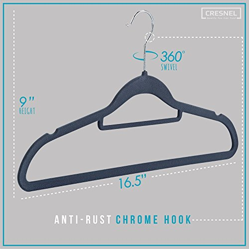 CRESNEL Velvet Hangers 50 Pack - Extra Strong to Hold Heavy Coat and Jacket - Non-Slip & Space Saving Design Excellent for Men and Women Clothes - Rotating Chrome Hook - Modern Gray Color - bedroomdesign.us