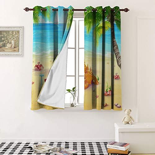 1GShophome Waterproof Window Curtain Holiday by The sea with Sand Castle and Merry Mushrooms Grommet Customized Curtains (1 Pair, 36