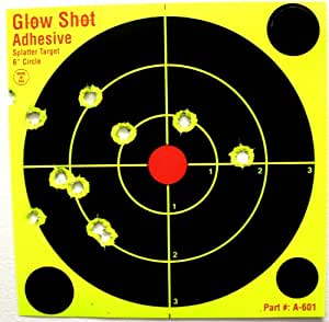 "60 Pack - 6"" DayGlo Yellow Adhesive Reactive Splatter Targets - Glowshot - Gun and Rifle Targets"