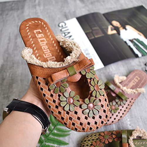 Clogs Flats Flower Mules Shoes Women Closed Casual 2 Slip Summer On Brown Backless Leather Sandals Slippers Toe xwqU7q0AF