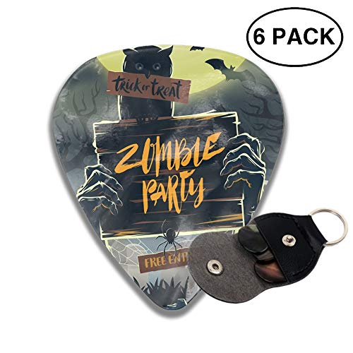 Halloween Vector 3D Printed Custom Guitar Picks 6pcs Celluloid Bass Celluloid Material Same Pattern on Both Sides 0.46mm/0.71mm/0.96mm -