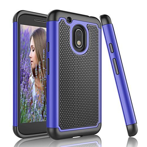 Moto G4 Play Case, Moto G Play Case, Njjex [Nveins Series] Shock Absorbing Hybrid Dual Layer Rubber Plastic Impact Armor Defender Bumper Rugged Hard Case Cover For Motorola G4 Play [Blue/Black] (Boost Moto Cases G Mobile)