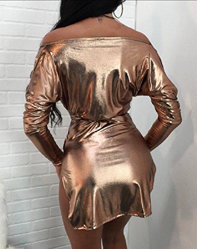 Profondo A Jaycargogo Lunghe Vestito Abito V Scollo Corto Aderente Sexy Con Metallico Maniche Donne 1 U1UPwz