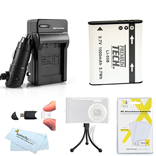 Battery And Charger Kit For Olympus SZ-12 XZ-1 SZ-10 SZ-20 SZ-30MR SP-800UZ SZ-11 SZ-31MR iHS, SZ-16 iHS, sz-15, TG-850 iHS,TG-860, TG-870 Camera Includes Replacement LI-50B Battery + Charger + More