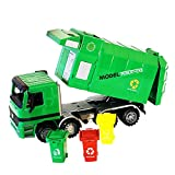 leegoal Garbage Truck, Rubbish Truck Toy with 3 Trash Cans Push And Go Friction Powered Toy for Kids