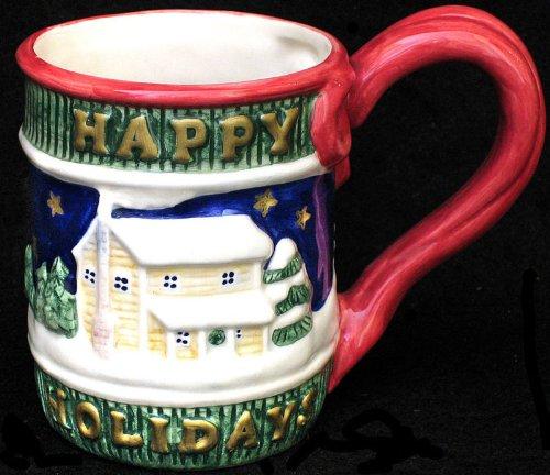 Fitz & Floyd Omnibus - 1996 Omnibus Happy Holidays Christmas Mug - Snowman and Home in Snow