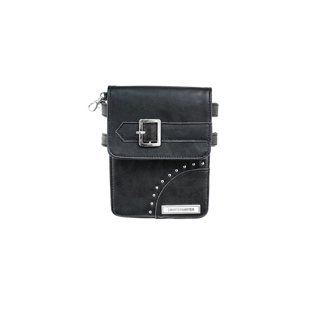 Women's SmarterGarter Hands Free Antiqued Black Vegan Leather Purse - Small