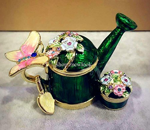 znewlook Collectible Decorative Stacker Trinket Boxes Butterfly Jeweled Trinket Boxes Watering Pot Shaped Jewelry Box(Green) ()