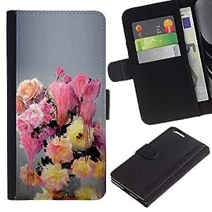 For Apple (5.5 inches!!!) iPhone 6+ Plus / 6S+ Plus Case , Painting Flowers Pastel Colors - la tarjeta de Crédito Slots PU Funda de cuero Monedero caso cubierta de piel