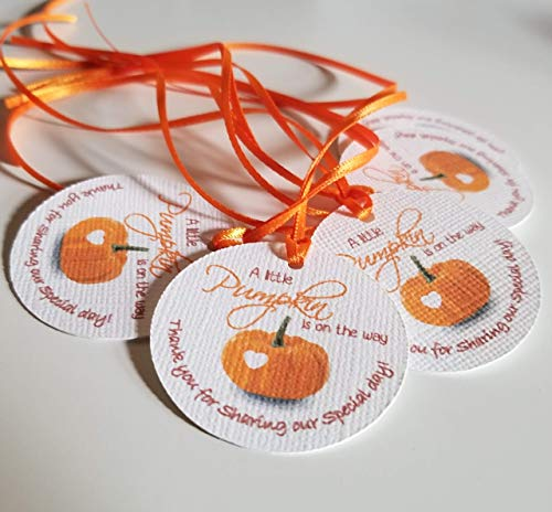 A Little Pumpkin is on the way Baby Shower Tags - Baby Shower favor tags - Little Pumpkin Favors Tags - Set of 40 ()
