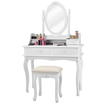Giantex White Vanity Set with Mirror and Stool, Bedroom Wood Makeup Table  for Women Girls Gift, Mirrored Dressing Table Desk Vanity Dresser with ...