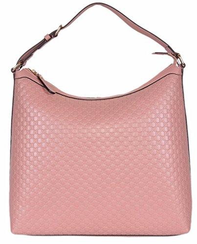 (Gucci Women's Micro GG Guccissima Leather Hobo Handbag (449732/Soft Pink))