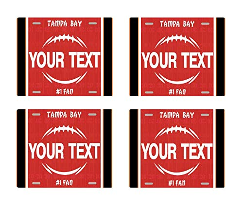 BRGiftShop Personalize Your Own Football Team Tampa Bay Set of 4 Square Beverage Coasters