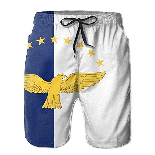 Eletina purple Pin Lightweight Quick Dry Flag of The Azores Beach Shorts Swim Trunks Beach Pants White ()