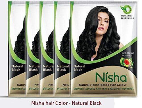 Natural Color Hair Henna Powder (Natural Black) 10G Pack of 10 by Nisha by Nisha