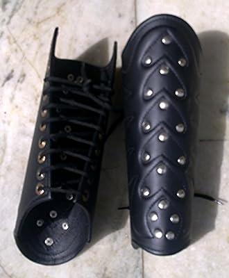 Nauticalmart Faux Leather Arm Guards - Medieval Bracers - Black - One Size