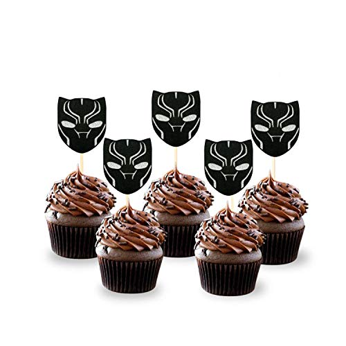 Kids Birthday Party Cupcakes - Black Panther Cupcake Toppers(Set of 24) Birthday Party Decorations Supplies Avengers Party Decor