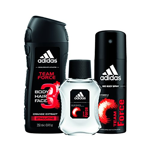 adidas Team Force  3pc Set - 8.4 oz Body Wash, 1.7 oz Eau De Toillette, 4.0 oz Body (Adidas Set Edt Spray)