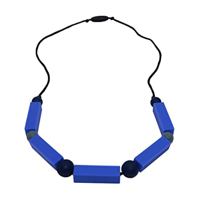 Silicone Oral Motor Aide Chew Necklace for Kids, Autism Chewable Jewelry - Calms and Reduces Biting/Chewing/Fidgeting Chewy Baby Teething Necklace Toys (Blue Cuboid): Health & Personal Care