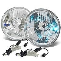 "7X7"" H6024 Round Diamond Cut Chrome Housing Clear Lens Headlight Set of 2 + H4 LED Conversion Kit"