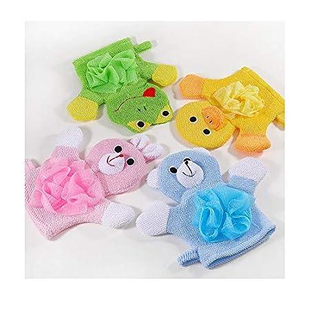 WOVELOT 4-Pack Soft Baby Bath Gloves Cute Cartoon Animal Duck//Dog//Rabbit//Frog Shape Body Wash Mitts for Newborn Toddler Kids Children