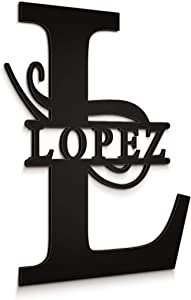 "JASS GRAPHIX Lopez 12"" Black Aluminum Composite Monogrammed Sign Door Wall Decor Last Name Signs for Home Personalized"