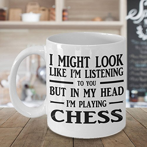Pbr Ceramic (I Might Look Like I'm Listening To You Mug, Coffee Mug, Tea Mug, Ceramic Mug, Love Chess, Chess Mug, Gift for Friend, 11oz 15oz)