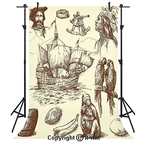 (Nautical Decor Photography Backdrops,Merchant Ship Banana Monkey Parrot Boat Historical Sketch Style Artwork,Birthday Party Seamless Photo Studio Booth Background Banner)